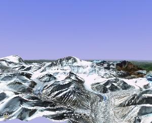 珠穆朗玛峰与绒布冰川 - Google Earth