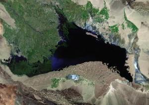 博斯腾湖 - Google卫星照片