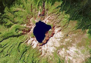 Heaven Lake of Mount Changbai - Google Satellite Photo