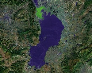 Lake Dian of Kunming - Google Satellite Photo