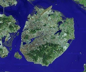 Gulangyu & Mount Wanshi - Google Satellite Photo