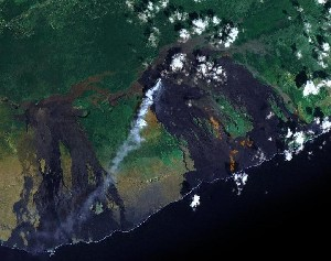 Hawaii Volcanoes National Park - Google Satellite Photo