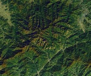 Huangshan Mountains - Google Satellite Photo