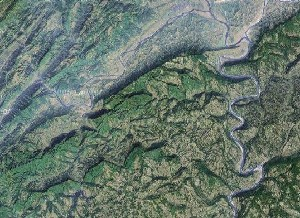 剑门蜀道 - Google卫星照片
