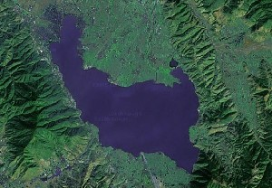 Lake Qiong & Mount Luoji - Google Satellite Photo