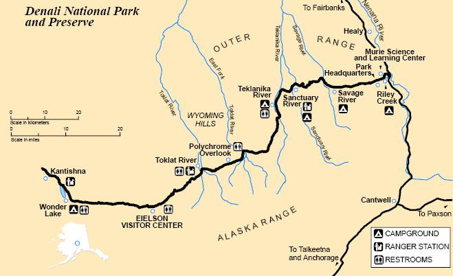 Map of Denali National Park