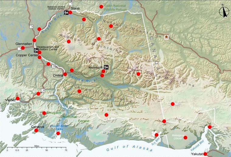 Map of Wrangell - St. Elias National Park